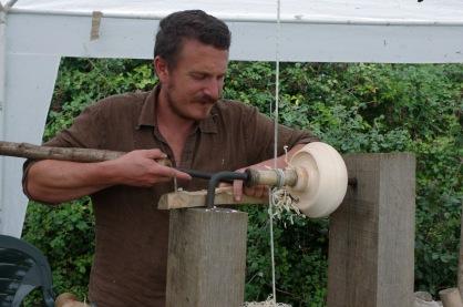 Jack Labonowski demonstrates wood turning
